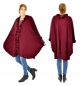 IG800WR Poncho Strick Cape mit Pelz one size Umhang Weste Gr. 38-52 weinrot