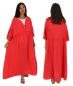 Preview: LA500R Damen Kleid Leinen one Size Gr. 44 46 48 50 52 rot Vintage Plus Size Bohemian Tunika