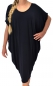 Mobile Preview: IK200SW Damen Kleid Fledermausarm Jersey Tunika Lagenlook Gr. M-XXL schwarz