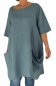 LN700BL Tunika Bluse Kleid Used Look Lagenlook Leinen one size blau