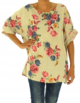 IF600BG Damen Bluse Leinen Tunika Victorian Rose 3/4 Arm one size Gr. 40 42 44 46 beige