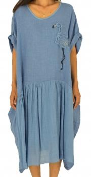 c559e561436 LF100BL Kleid Flamingo Applikation Tunika Leinen Vintageoptik one size  Materialmix Gr. 44 46 48 50