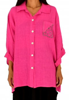 LF700MG Damen Hemd-Bluse Leinen one size Tunika Vintage Turn Up Gr. 46 48 50 oliv magenta