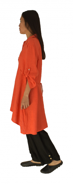 LJ600OR Damen Leinen Tunika Hängerchen Bluse one size orange Gr. 38 40 42 44