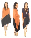 HU700OR Tunika Kleid Longtunika Lagenlook asymmetrisch Gr. 38-44 orange/Schwarz