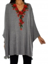 IG600GR Poncho Strick Cape one size Applikation Stickerei Gr. 38-50 grau