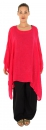 HH900R Damen Tunika Poncho Bluse Leinen Lagenlook one size Himbeer Rot
